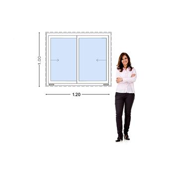 Imagen de Ventana PVC DVH 120 x 100  vidrio doble corredizas