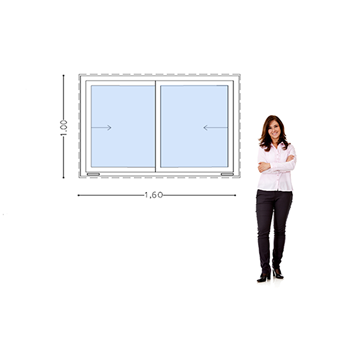 Imagen de Ventana PVC DVH 160 x 100  doble vidrio corredizas