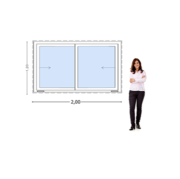 Imagen de Ventana PVC DVH 200 x 120  doble vidrio  corredizas