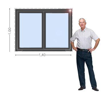Imagen de Ventana PVC 140 x 100 doble vidrio  corrediza - STKGC140100