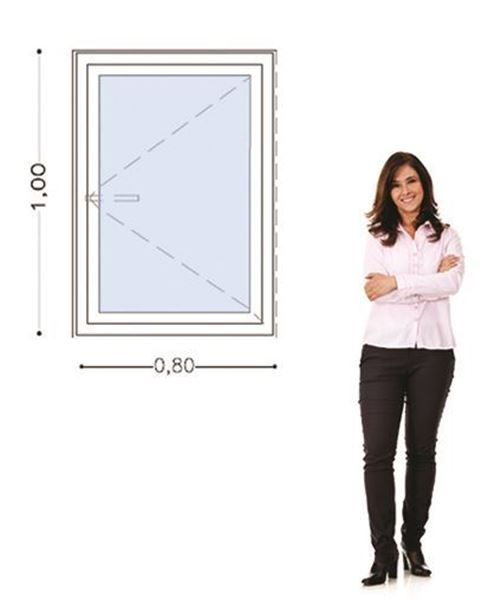Imagen de Ventana PVC DVH 80 x 100  doble vidrio  batiente - STKB80100DI